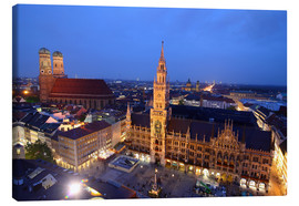 Lienzo  Church of our Lady and the new town hall in Munich at night - Buellom