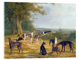 Cuadro de metacrilato  Nine Greyhounds in a Landscape - Jacques Laurent Agasse
