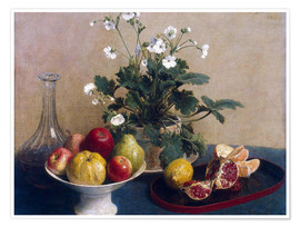 Póster Flowers, dish with fruit and carafe