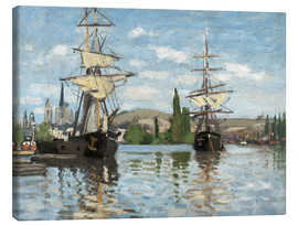 Lienzo  Ships on the Seine at Rouen - Claude Monet