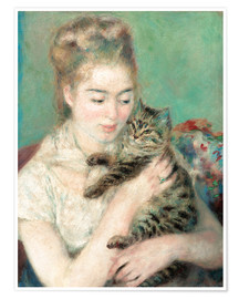 Póster Woman with a cat