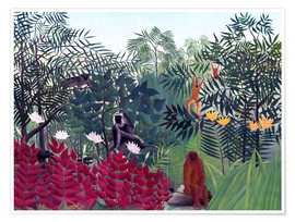 Póster  Tropical Forest with Monkeys - Henri Rousseau
