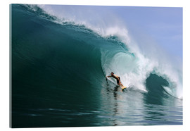 Cuadro de metacrilato  Surfing in a huge green wave, tropical island paradise - Paul Kennedy