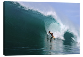 Lienzo  Surfing in a huge green wave, tropical island paradise - Paul Kennedy