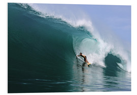 Cuadro de PVC  Surfing in a huge green wave, tropical island paradise - Paul Kennedy