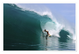Póster  Surfing in a huge green wave, tropical island paradise - Paul Kennedy