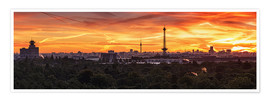 Póster Berlin Skyline Sunset - Panorama