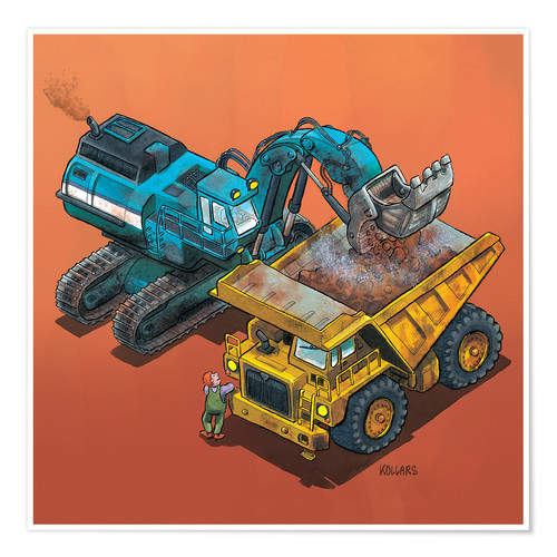 Póster Excavator and trucks