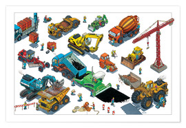 Póster  construction machines - Helmut Kollars
