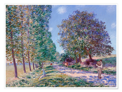 Póster Poplar Avenue at Moret on the Loing