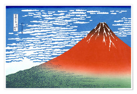 Póster  The Fuji in clear weather - Katsushika Hokusai