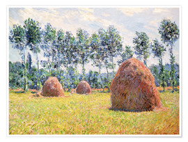 Póster  Haystacks at Giverny - Claude Monet