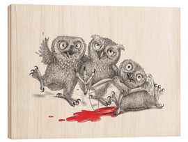 Cuadro de madera  Party - Tipsy Owls - Stefan Kahlhammer