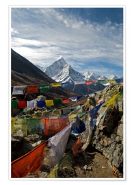Póster  Prayer flags and the Ama Dablam - David Noyes