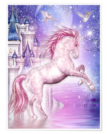 Póster  Pink Magic Unicorn - Dolphins DreamDesign