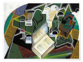 Póster  Still life with a book and glasses - Juan Gris