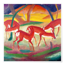 Póster  Red deer I. - Franz Marc