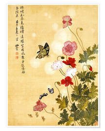 Póster  Poppies and Butterflies - Ma Yuanyu