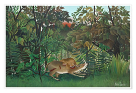 Póster  The hungry lion - Henri Rousseau
