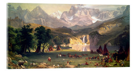 Cuadro de metacrilato  Indian camp in the Rockies - Albert Bierstadt