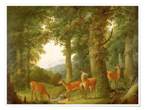 Póster Forest Landscape with Deer, 1760/70