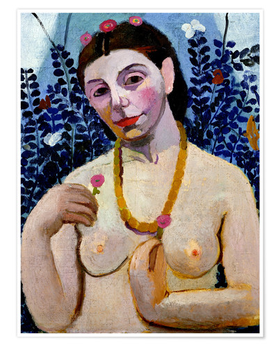 Póster Paula Modersohn-Becker as half nude with amber necklace II