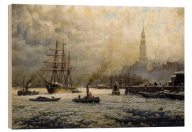 Cuadro de madera  The Port of Hamburg, 1893 - Georg Schmitz