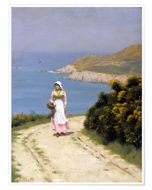 Póster  Path along the cliffs - Edmund Blair Leighton