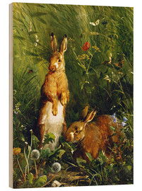 Cuadro de madera  Rabbits in a meadow - Olaf August Hermansen
