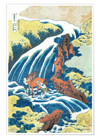 Póster  Two men washing a horse at a waterfall - Katsushika Hokusai