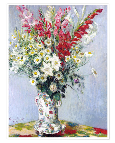 Póster Bouquet of gladioli, lilies and daisies
