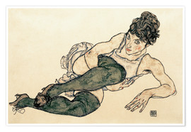 Póster  Reclining Woman with Green Stockings - Egon Schiele