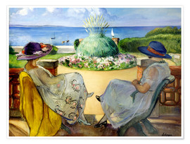 Póster  Two women on a terrace by the sea - Henri Lebasque