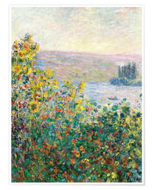 Póster  Flower Beds at Vetheuil - Claude Monet