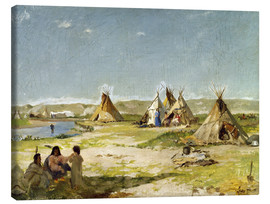 Lienzo  Camp of the Indians in Wyoming - Frank Buchser