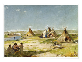 Póster  Camp of the Indians in Wyoming - Frank Buchser