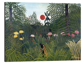 Aluminio-Dibond  Jungle landscape with Setting Sun - Henri Rousseau