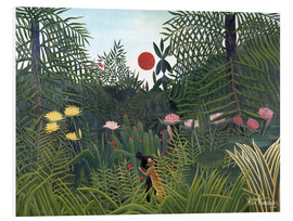 Forex  Jungle landscape with Setting Sun - Henri Rousseau