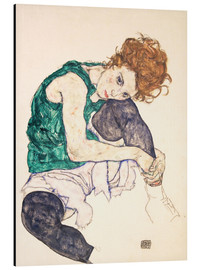 Aluminio-Dibond  Seated Woman with Bent Knee - Egon Schiele