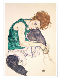 Póster  Seated Woman with Bent Knee - Egon Schiele