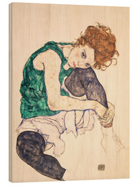 Madera  Seated Woman with Bent Knee - Egon Schiele