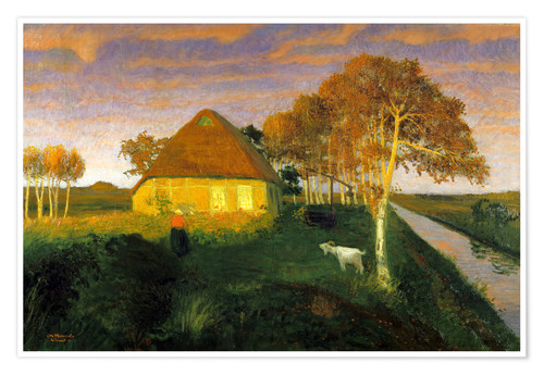 Póster Moor cottage in the evening sun