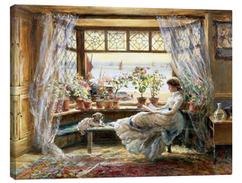Lienzo  Reading at the window - Charles James Lewis
