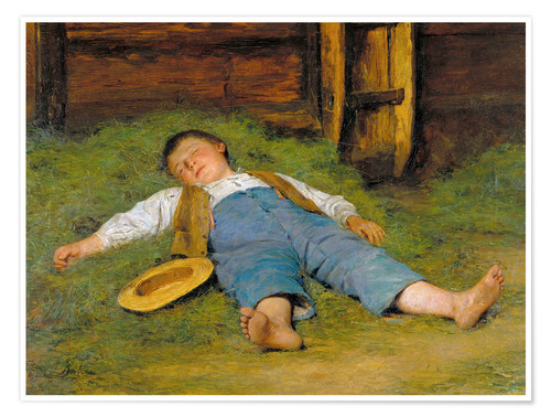 Póster Sleeping boy in the hay