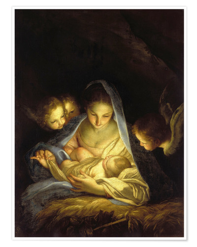 Póster Mary with the Christ child bent over the crib
