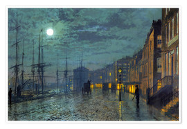 Póster  Docks at moonlight - John Atkinson Grimshaw