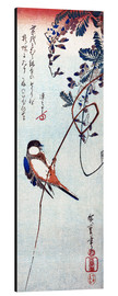Cuadro de aluminio  Swallow sitting on a branch of a wisteria - Utagawa Hiroshige