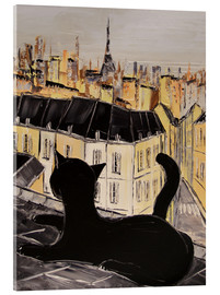 Cuadro de metacrilato  Black cat on the roofs of Paris - JIEL