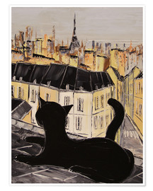 Póster Black cat on the roofs of Paris