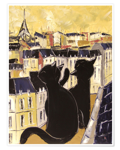 Póster Cats on the rooftops of Paris